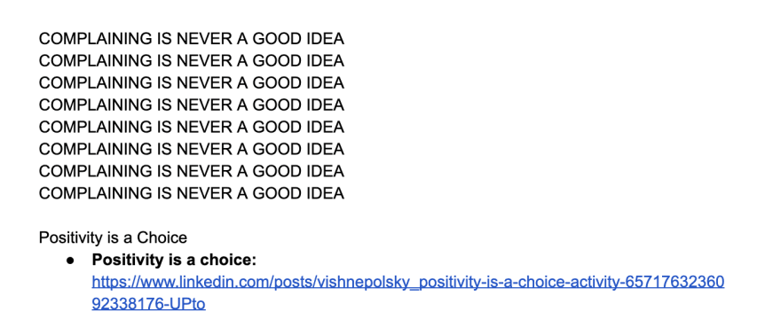 Basic outline for a future article about positivity being a choice.