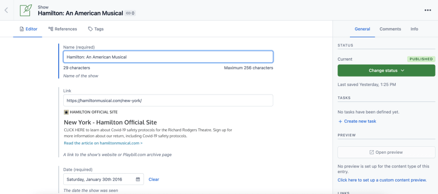 Show entry editor in contentful