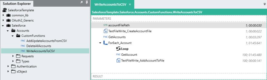 Write accounts to CSV screenshot.