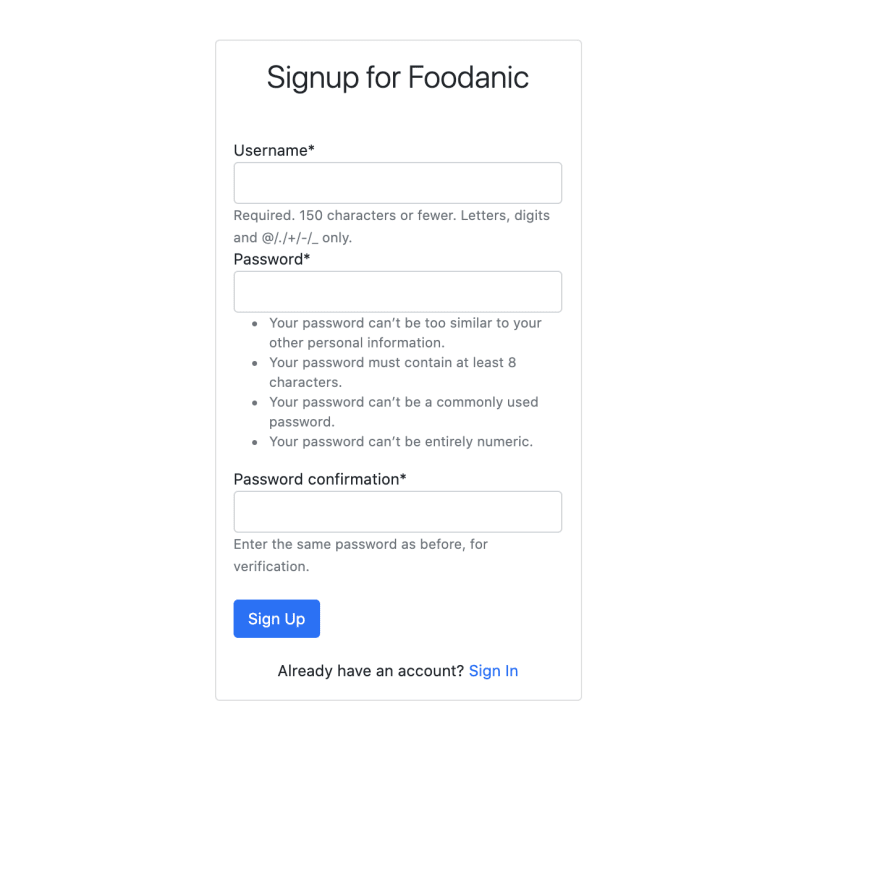 Sign Up View