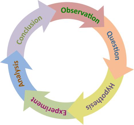 Circular illustration of the scientific method