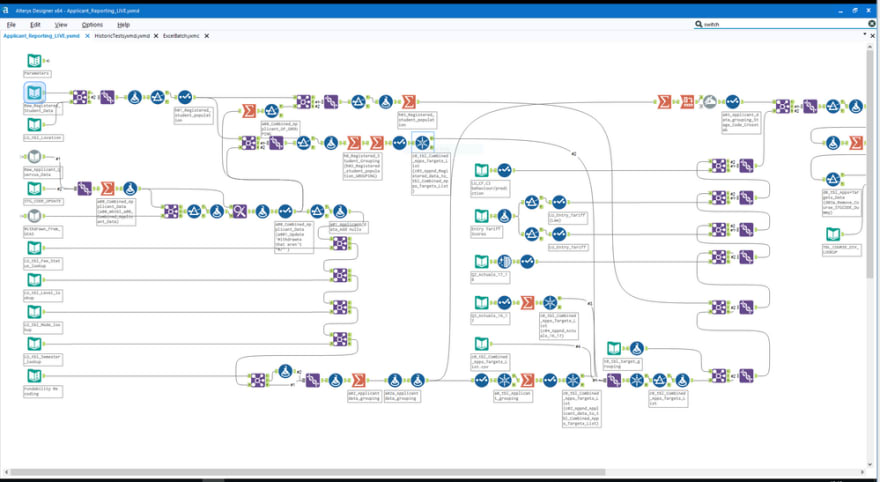 Alteryx is a classic example for a Low-Code workflow