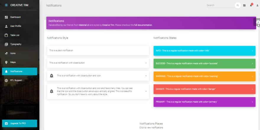 React Dashboard - Material Design, UI alerts screen.