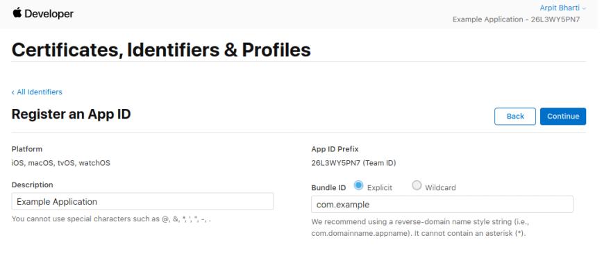 Register App Id