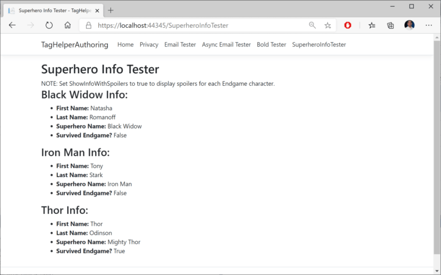 Superhero tag helper in a browser