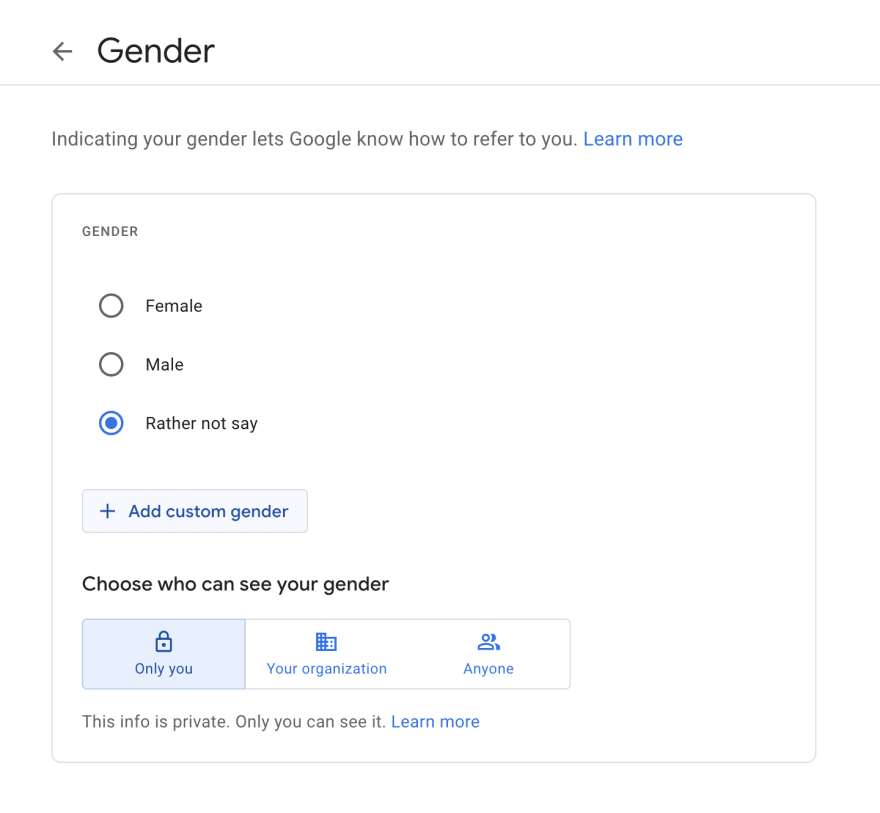 """Gender selection on a form, 3 radio buttons (male, female, rather not say) with """"add custom gender"""" button underneath"""