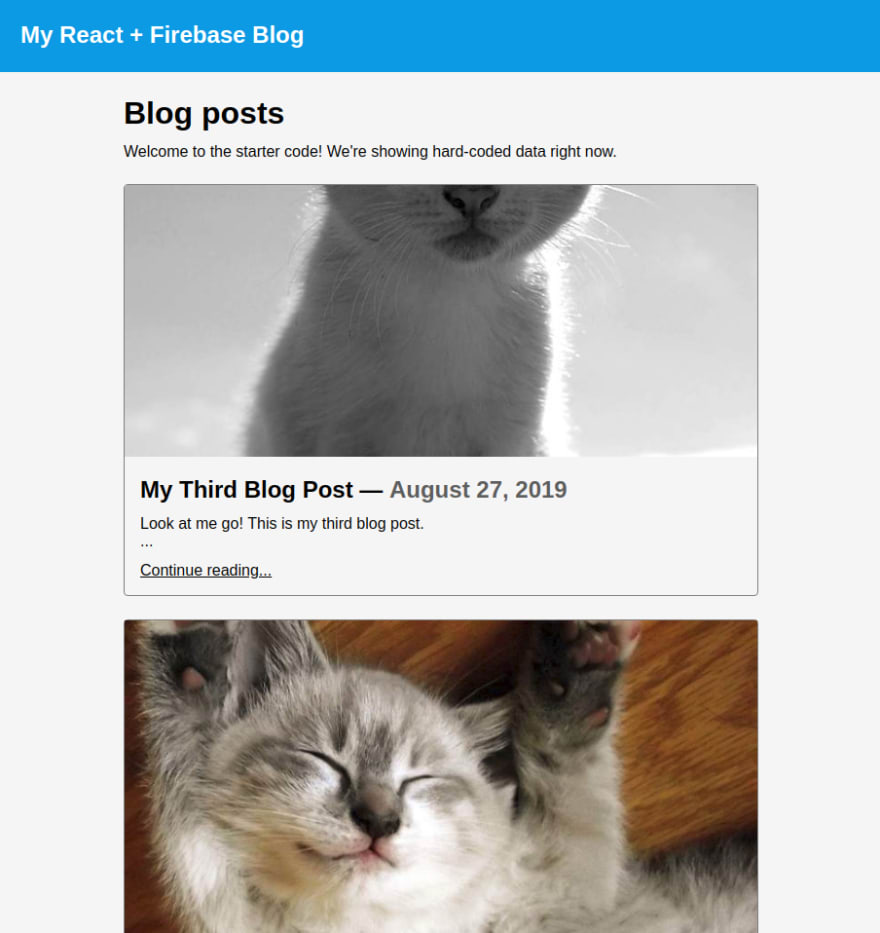 The home page with the new post listed first.