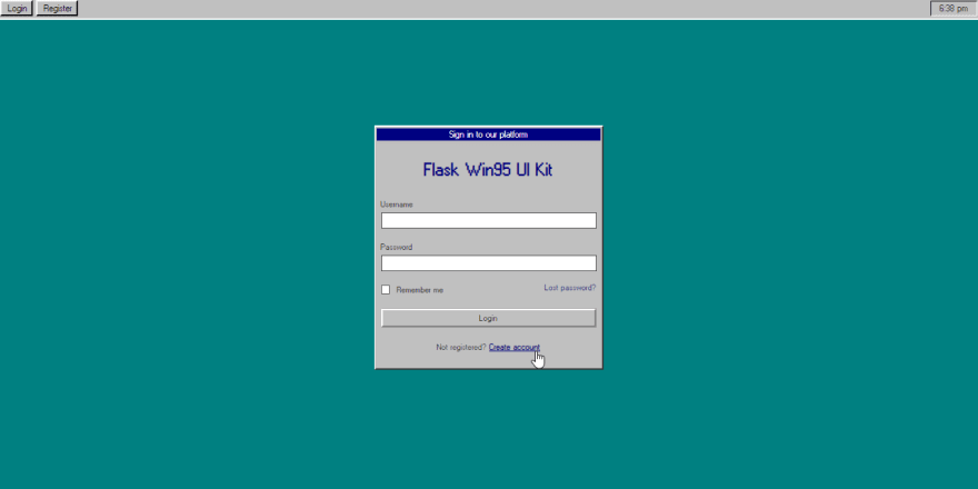 Flask Windows 95 UI Kit - Login Screen.