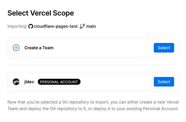 Select scope for the new project