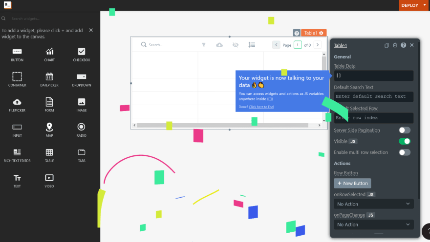 Appsmith screenshot showing visual controls and colourful animated shapes