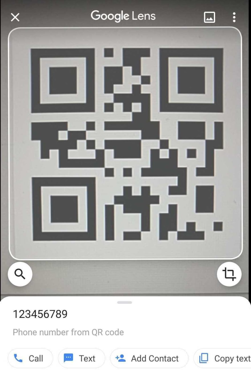 Google Lens QR Code scanned response for a telephone number