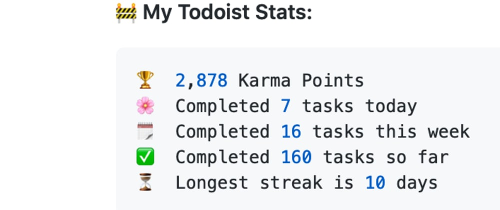 Cover image for Show your latest to-do's and Todoist stats automatically on your GitHub profile readme