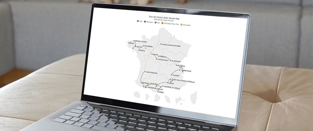 Cover image for Creating a JS Connector Map to Visualize Tour de France 2021 Route