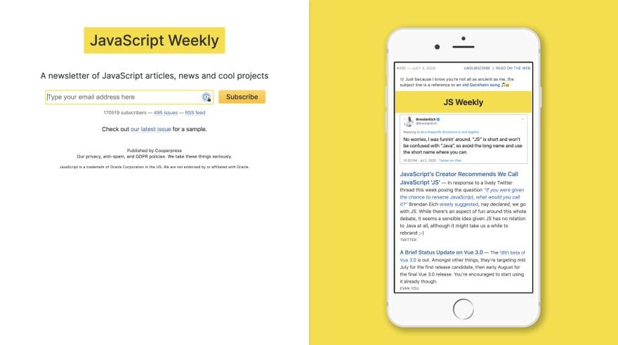 Javascript Weekly Screenshot