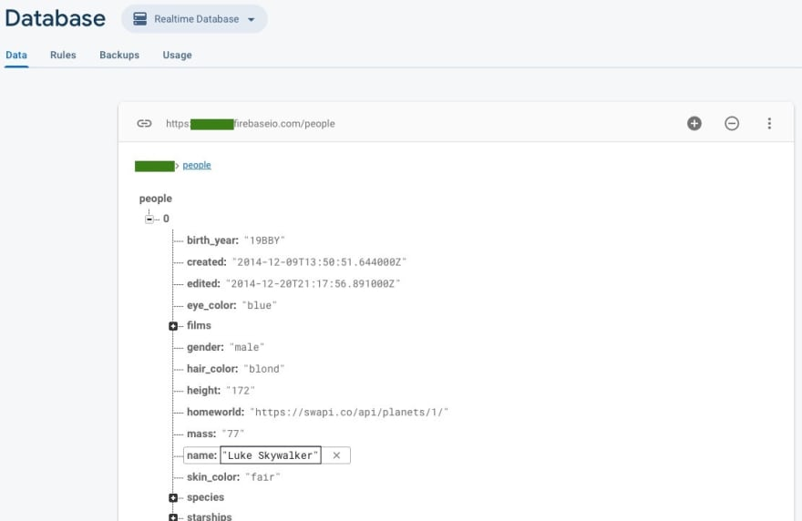 Screenshot of Firebase Realtime Database console, showing records in key-value pair tree data structure