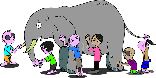 blind people trying to describe an elephant by touch