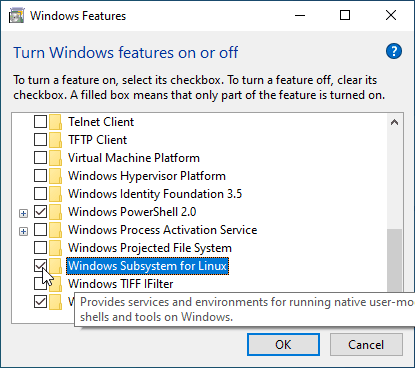 Windows Subsystem for Linux feature