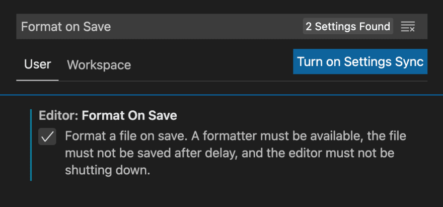 Settings - automatically format your code on save
