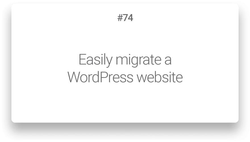 Easily migrate a WordPress website