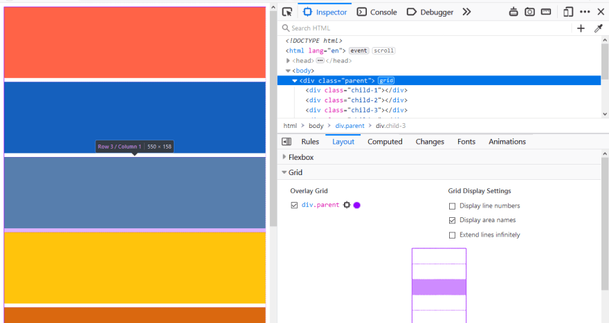 Colored boxes in the browser