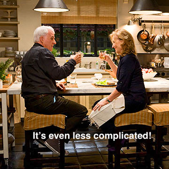 """Still image from the movie """"It's Complicated"""" edited to read """"It's even less complicated"""""""
