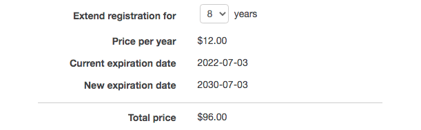 AWS Extend Domain Registration