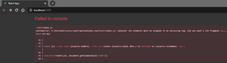 Error con JSX