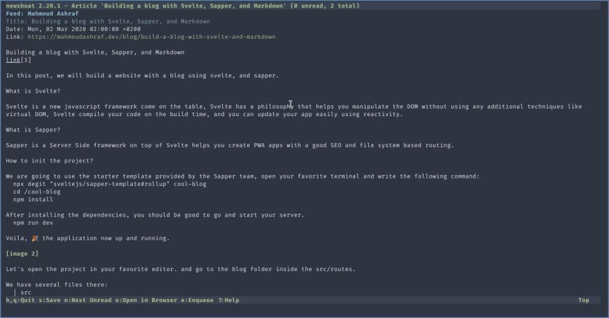screenshot from my blog rss
