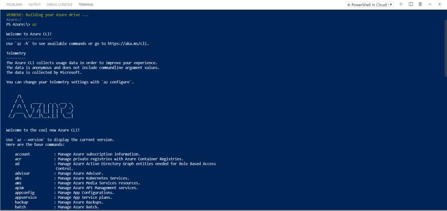Acessando o azure cloud shell via Visual Studio Code e teste do Azure Cli