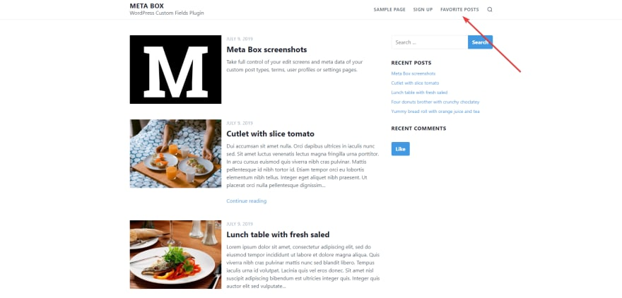 display your Favorite Posts page on the WordPress website