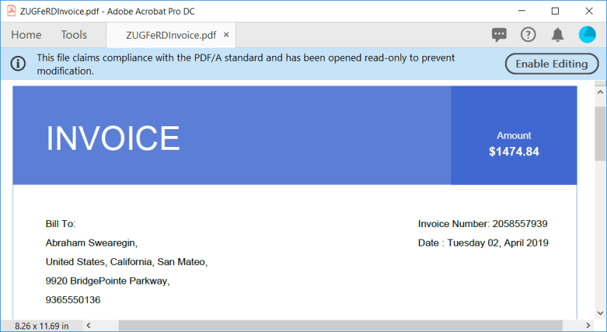PDF invoice with header and buyer information