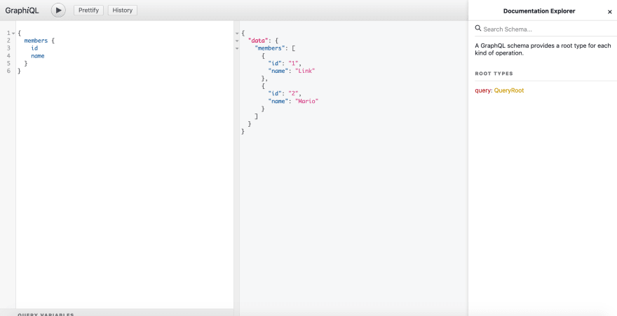 Members query in graphiql