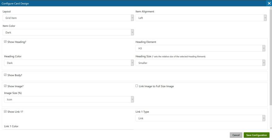 Complex Modal Dialog form for Widget Properties