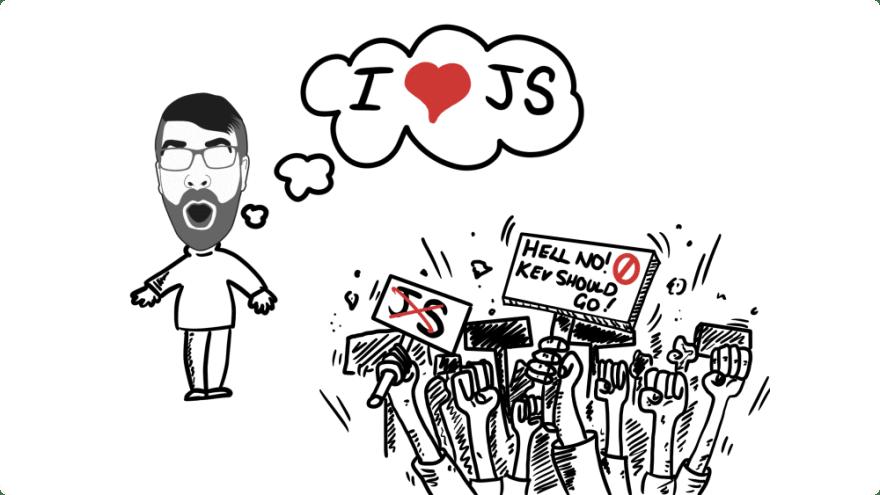 Kev loves JavaScript cartoon