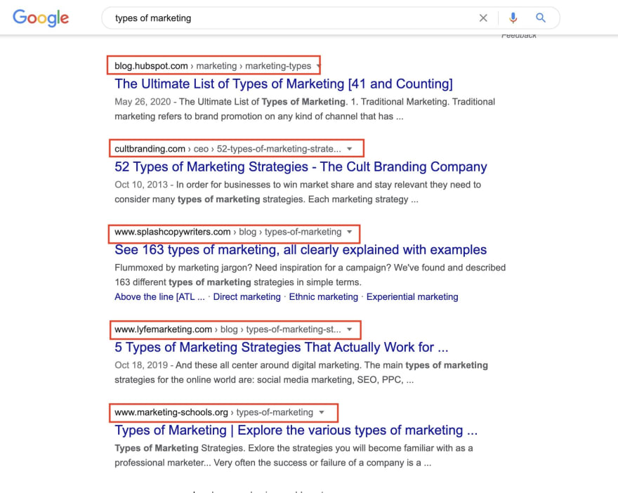 Google search of types of marketing