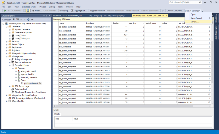 "Save the current data view setup via ""Display Settings"" > ""Save As"""
