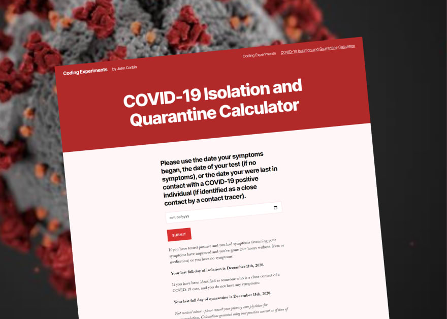 COVID-19 Isolation and Quarantine Calculator