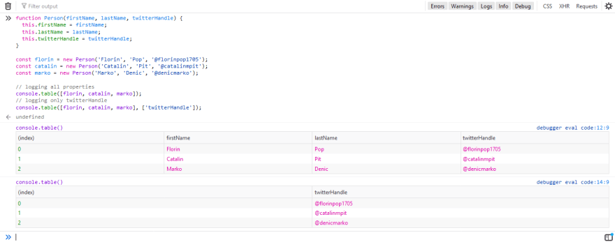 Show specific console.table() columns