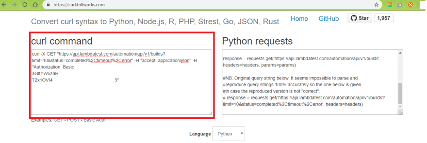 Curl-Python-Conversion