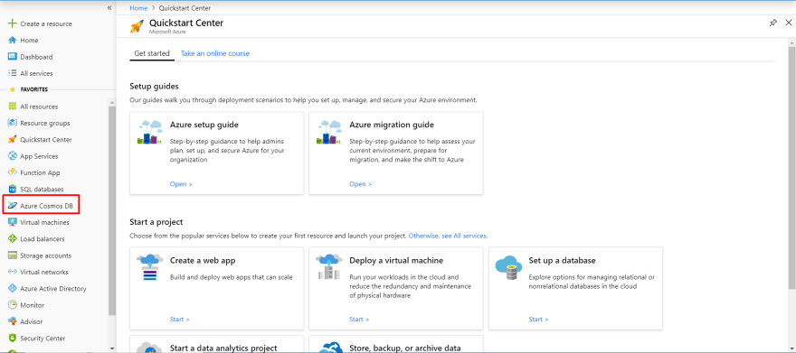 Azure Portal with Cosmos DB Highlighted