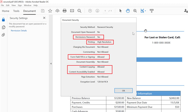 Customize PDF permissions