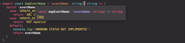 Function intellisense with return type