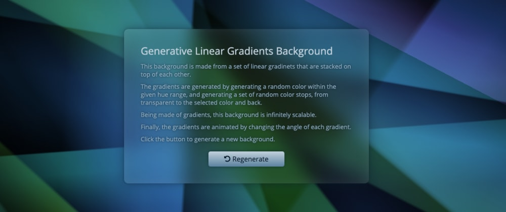 Cover image for Generative Linear Gradients Background