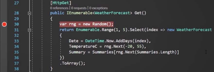 WeatherForecast breakpoint