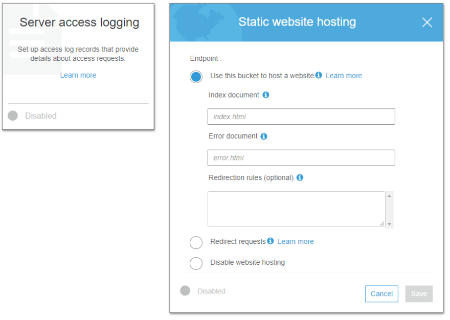 AWS static hosting settings panel with no details