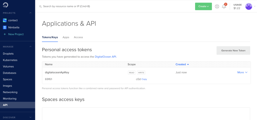 DigitalOcean API Key setup page