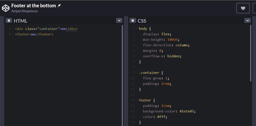 Footer at bottom code