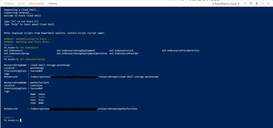 Acessando o azure cloud shell via Visual Studio Code e teste com o Modulo Az do PowerShell