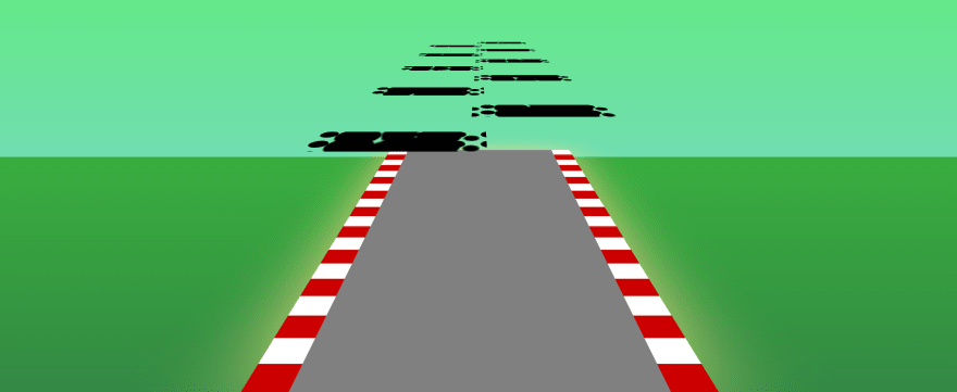 Screenshot of the game without the sky, the grease stains on the road fly beyond the sky