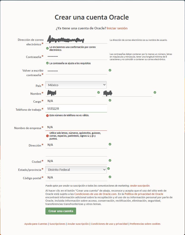 Oracle registration window